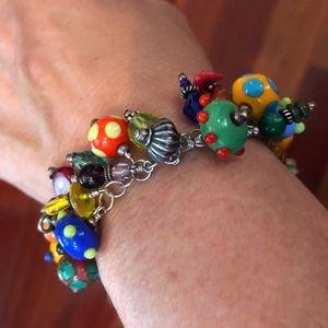 Dianna Dinka Glass Bead & Sterling Silver Bracelet